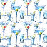 Seamless pattern of a Martini with olive and cherry and vodka and lemon. Royalty Free Stock Photography