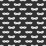 Seamless pattern with mask. Black and white carnival simple design. Superhero mask. Traditional venetian festive carnival icon. Ma Stock Photos