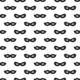 Seamless pattern with mask. Black and white carnival simple design. Superhero mask. Traditional venetian festive. Carnival icon. Masquerade. Vector illustration royalty free illustration