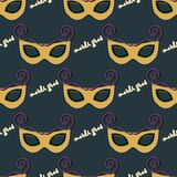 Seamless pattern of a mask for Mardi Gras.  Royalty Free Stock Images