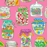 Seamless pattern of mason jars with greeting wishes Stock Images
