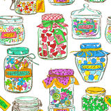 Seamless pattern of mason jars with greeting wishes Royalty Free Stock Photo