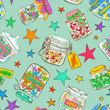 Seamless pattern of mason jars with greeting wishes Royalty Free Stock Photos