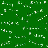 Seamless pattern of math homework on a blackboard Royalty Free Stock Photography