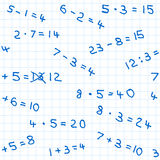 Seamless pattern of mathematics homework on checkered paper Royalty Free Stock Photo