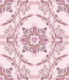 Seamless pattern with mauve bells in the deciduous. Oval on a pink background vector illustration
