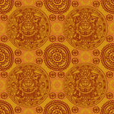 Seamless pattern with Mayan zodiac. Ethnic ornament, vector illustration Stock Photography