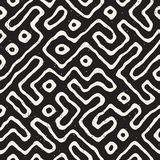 Seamless pattern with maze lines. Monochrome abstract background. Vector hand drawn labyrinth. Stock Images