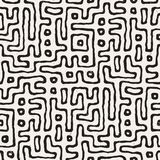 Seamless pattern with maze lines. Monochrome abstract background. Vector hand drawn labyrinth. Royalty Free Stock Photography