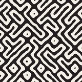Seamless pattern with maze lines. Monochrome abstract background. Vector hand drawn labyrinth. Royalty Free Stock Photos