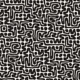 Seamless pattern with maze lines. Monochrome abstract background. Vector hand drawn labyrinth. Stock Photography