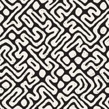 Seamless pattern with maze lines. Monochrome abstract background. Vector hand drawn labyrinth. Stock Photo