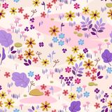 Seamless pattern with meadow flowers. Summer seamless pattern with  waves, pastel colors, leaves, meadow flowers: daisy,cornflower Royalty Free Stock Photo