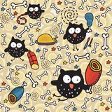 Seamless pattern with meat and owl. Stock Images