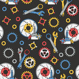 Seamless  pattern with mechanical components Stock Photography