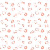 Seamless pattern media red icons Stock Image