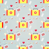 Seamless pattern with medical icons. Healthcare first aid kit band-AIDS antibiotics Royalty Free Stock Photography