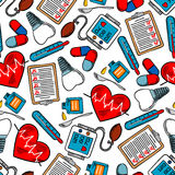 Seamless pattern of medical icons. Medicine and healthcare seamless pattern with medical test clipboards, hearts with pulse graphs, tooth implants and pills Royalty Free Stock Images