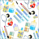 Seamless pattern Medical stethoscope, thermometer, syringe, a ta Royalty Free Stock Image