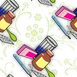 Seamless pattern with medications for colds and flu.  Stock Photos