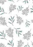 Seamless pattern with medicinal flowers on a white background stock illustration