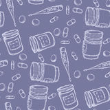 Seamless pattern medicine. Seamless pattern with bottle of pills, thermometer and capsules Royalty Free Stock Image