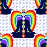 Seamless pattern meditation yoga man with chakras vector illustr. Seamless pattern meditation yoga man with chakras. vector illustration Royalty Free Stock Photo