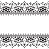 Seamless pattern mehndi border elements in Indian style with flowers for tattoo or card on white background. Royalty Free Stock Photos