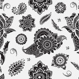 Seamless pattern with mehndi elements. Floral wallpaper with stylized flowers, leaves, indian paisley. Vector black and Stock Photos