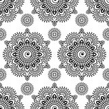 Seamless pattern mehndi floral lace of buta decoration items on white background. Stock Images