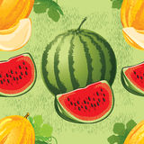 Seamless pattern of melon and watermelon Royalty Free Stock Images