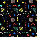 Seamless pattern in Memphis style. Abstract vector background. S with geometric ornaments in the style of 80-90. Colored geometric shapes on a black background Royalty Free Stock Photos