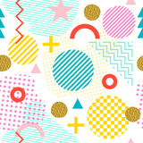 Seamless pattern in Memphis style. Abstract vector background in the style of 80-90. stock illustration