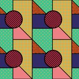Seamless pattern in Memphis style. Abstract vector backgrounds with geometric ornaments. In the style of 80-90 Royalty Free Stock Photography