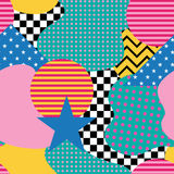 Seamless pattern in Memphis style. Abstract vector backgrounds w Stock Photography