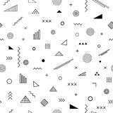 Seamless pattern with memphis style. Abstract geometric background with different geometrical shapes triangles, circles, arrows. Vector trendy design Royalty Free Stock Images