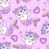 Seamless pattern. Mermaid cartoon cats. vector illustration