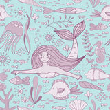 Seamless pattern with mermaid, fishes, coral, shell, seahorse and seaweeds. Vector illustration Stock Images