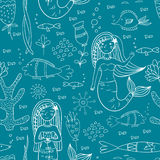 Seamless pattern with mermaid, fishes and coral. Stock Images