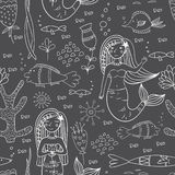 Seamless pattern with mermaid, fishes and coral. Royalty Free Stock Photos