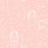 Seamless pattern with mermaid, fishes and coral. Stock Photo