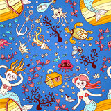 Seamless pattern from mermaid girls with treasures Stock Photo