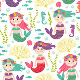 Seamless pattern with mermaid under the sea. Vector illustration, eps Royalty Free Stock Image