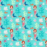 Seamless pattern with mermaid. Royalty Free Stock Image
