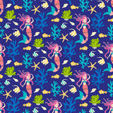 Seamless pattern with mermaid. Stock Photography