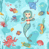 Seamless pattern with mermaid Stock Photos