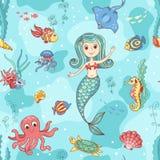 Seamless pattern with mermaid Stock Photos