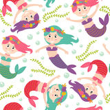 Seamless pattern with mermaid Stock Images
