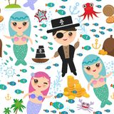 Seamless Pattern Mermaid With Pirate, Boat With Sail, Gold Coins Crab Octopus Starfish Island With Palm Trees Anchor Compass Ancho Royalty Free Stock Photography