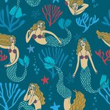 Seamless pattern with mermaids Royalty Free Stock Image